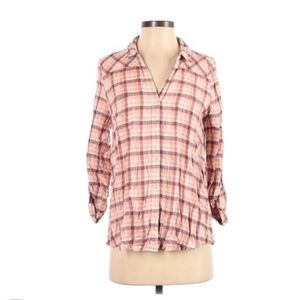 Joie Red Plaid Button Down Flannel Small